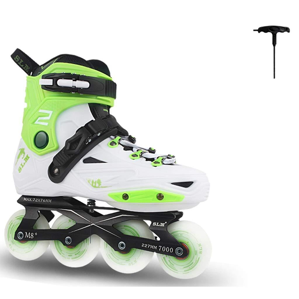 ZHANGHAIMING 大人のインラインスケート、男性の女性初心者スケート、カジュアルフィットネスローラースケート、ブラックホワイトグリーン (Color : A, Size : EU 31/US 13.5/UK 12.5/JP 20.5cm)