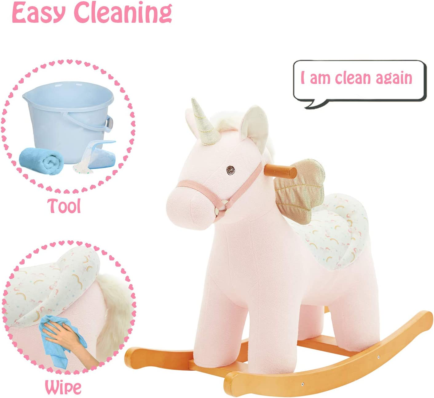 labebe Ride on Toy for Infant White Rocking Horse Plush Girl//Rocker Chair//Toddler Toy Pink Unicorn with Wings NEW Baby Rocking Horse Kid Wooden Rocker for 1-3 Year Old Rocking Animal Child