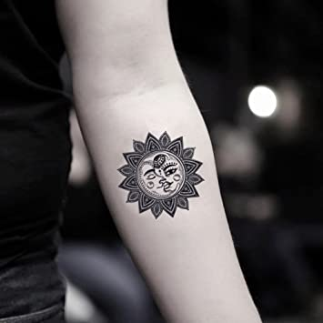 56893410d Image Unavailable. Image not available for. Color: Moon & Sun Mandala Temporary  Fake Tattoo Sticker ...