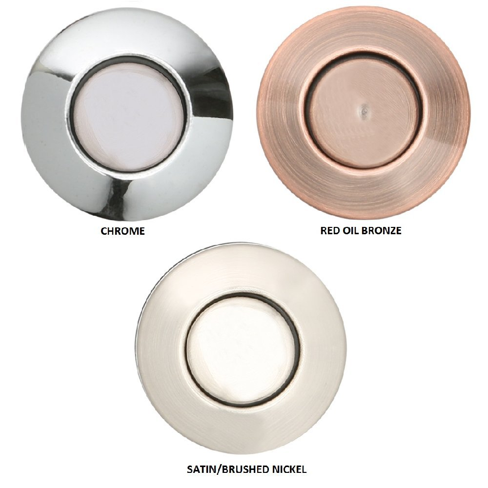 Sink Top Push Button Replacement for Insinkerator Air Switch Garbage/Waste Disposal Outlet By Essential Values (Satin/Brushed Nickel Cover) by Essential Values