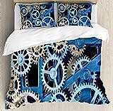 Clock Twin Duvet Cover Sets 4 Piece Bedding Set Bedspread with 2 Pillow Sham, Flat Sheet for Adult/Kids/Teens, Technology Clock Gears Steel Cogwheels Pattern Mechanical Theme Design Print