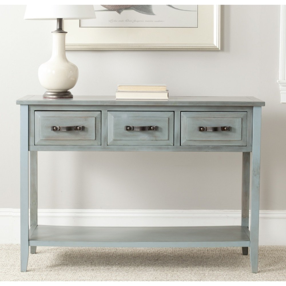 Safavieh American Homes Collection Aiden Barn 3-Drawer Console Table, Blue