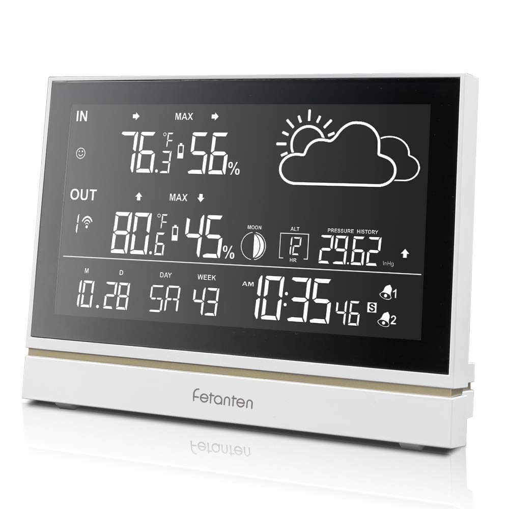 Wireless Weather Station with Outdoor Sensor Indoor and Outdoor Thermometer Hygrometer 7.5-Inch