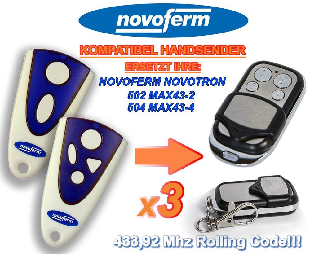 3 X NOVOFERM NOVOTRON 502 MAX43-2, 504 MAX43-4 universal transmisor de repuesto mando a distancia, 433.92Mhz rolling code keyfob NOVOFERM replacement