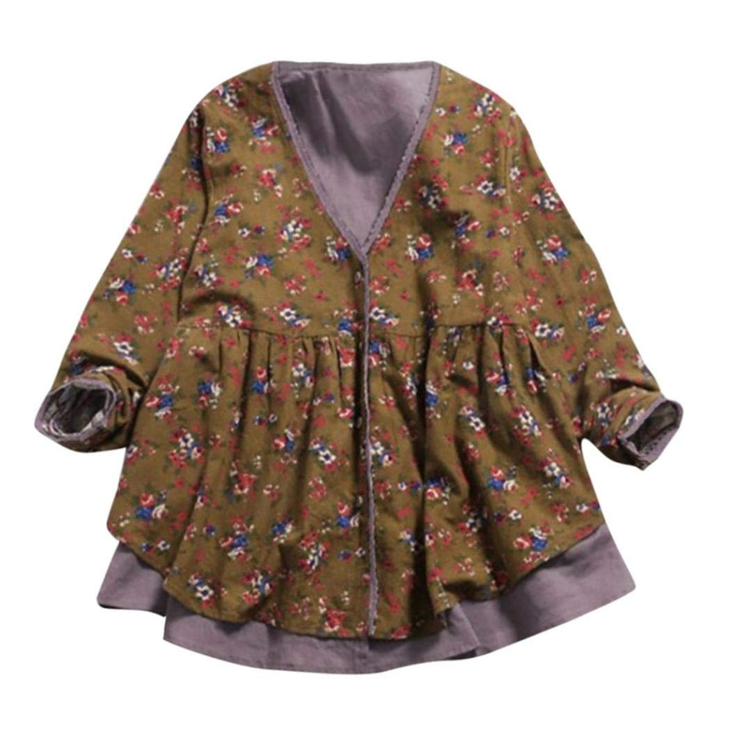 Tsmile Clearance Winter Women Cotton Linen Print Double-Layer Fake Two Pieces Loose V Neck Coat Blouse Tunic