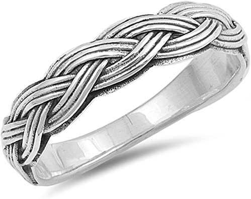 Princess Kylie Oxidized Sterling Silver Braided Celtic Band Ring