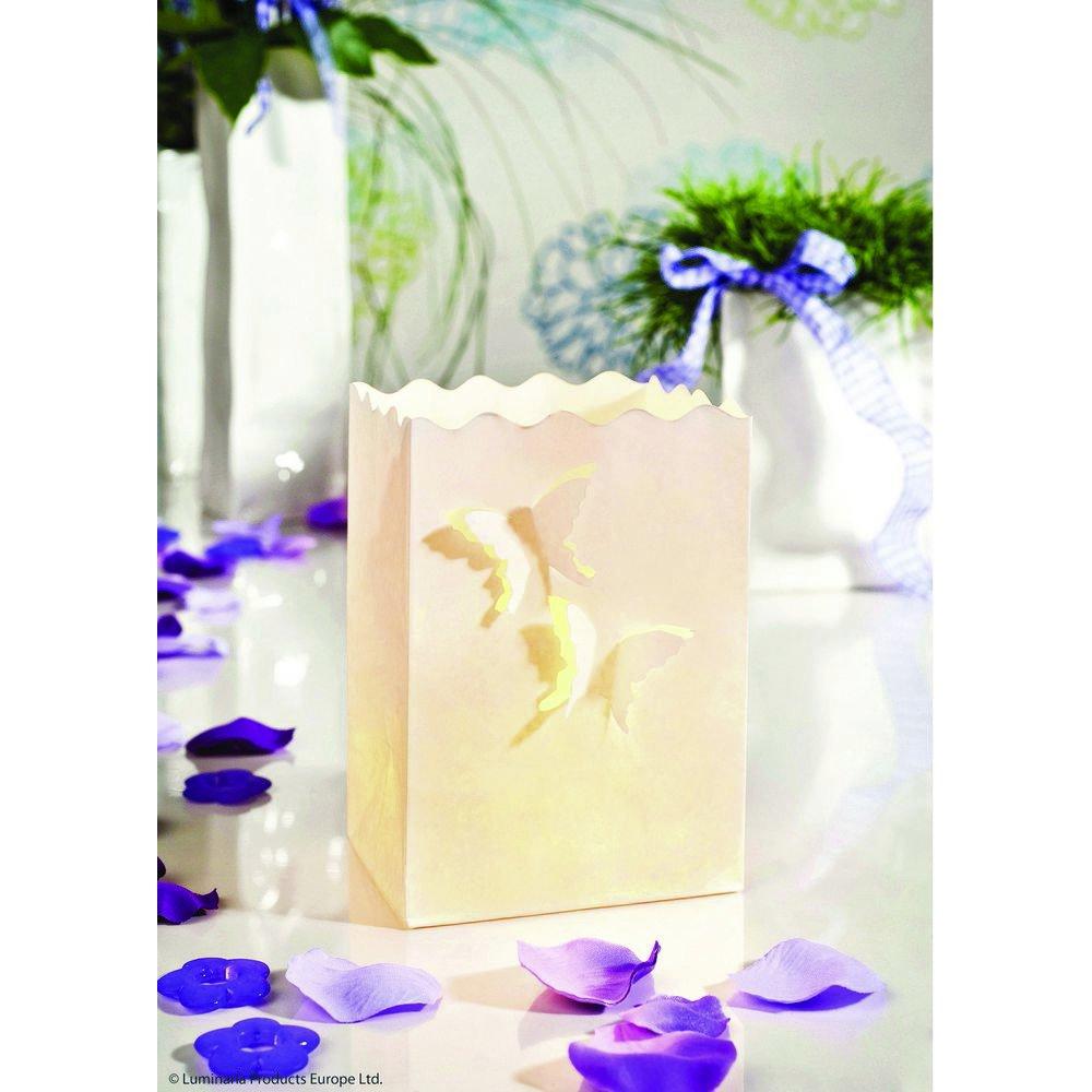 juego de 10 11 x 16 x 9 cm Wenko LUMINARIA 8539100 Iluminada decorativa Mariposas peque/ña Papel Blanco