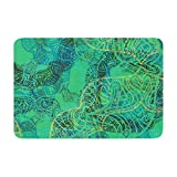 "KESS InHouse ""Patternmuse Mandala Mint Green Abstract"" Memory Foam Bath Mat, 17 by 24"""