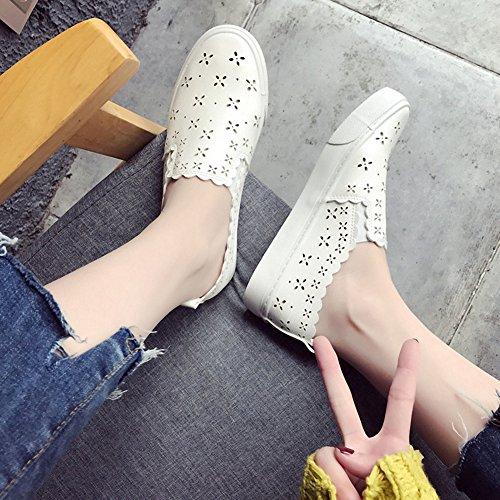 Smiry Kvinnor Mode Ihåliga Ut Sneakers Vita Mjukt Läder Snörning Platta Skor Tillfälliga Andas Kör Atletiska Sneakers Vita 1