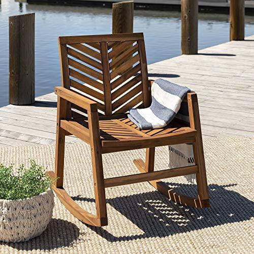 Walker Edison Furniture Company AZWVINRCBR Outdoor Patio Wood Chevron Rocking Chair All Weather Backyard Conversation Garden Poolside Balcony, Set of 1, Brown