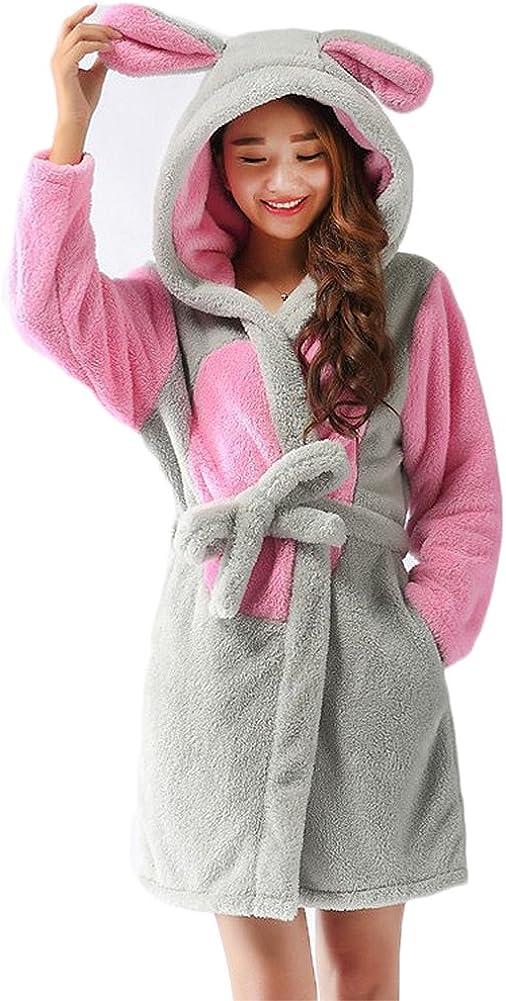 Bata para Estar por Casa Super Suave Pijama Ropa Longitud Completa con Capucha Albornoz