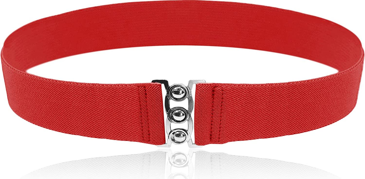 "Luna Sosano 2016 Valentine's Day Collection Best Gift For All Ladies - 2"" Elastic Cinch Belt - Red"