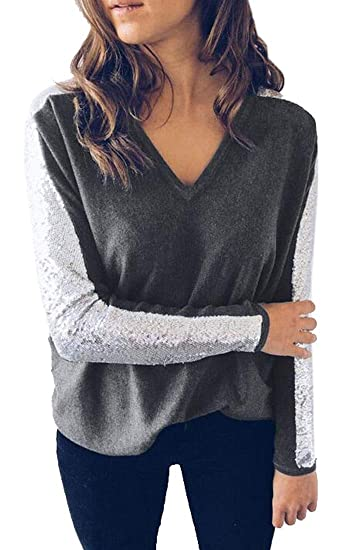892ea5ad514586 Fensajomon Womens V Neck Glitter Sequins Stitching Comfy Long Sleeve Blouse  T-Shirt Top at Amazon Women's Clothing store:
