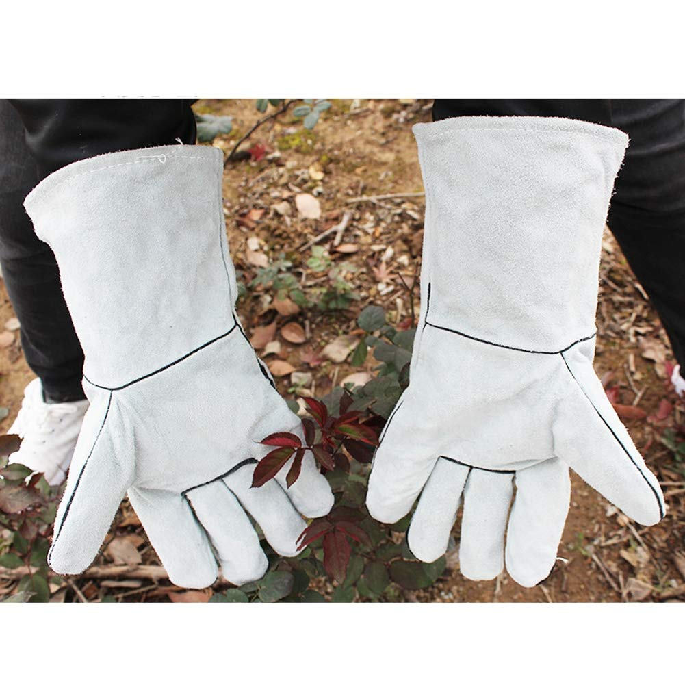 Xgxyklo Breathable Cowhide Leather Thorn Proof Gardening Gauntlet Gloves, Best Garden Gifts & Tools for Gardener and Farmer,Gray,10Pair by Xgxyklo (Image #3)