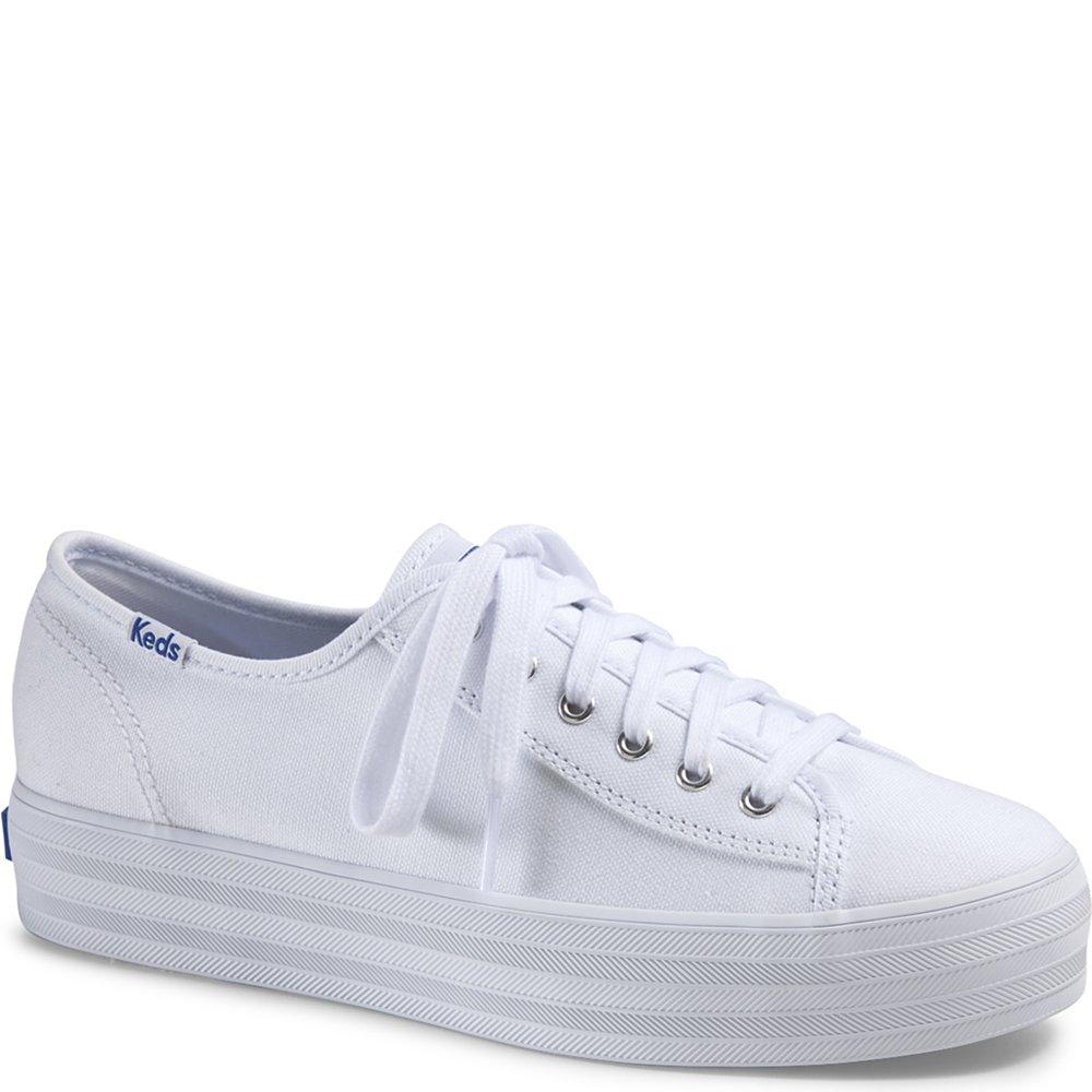Keds Women's Triple Kick Canvas Fashion Sneaker,White,7.5 M US