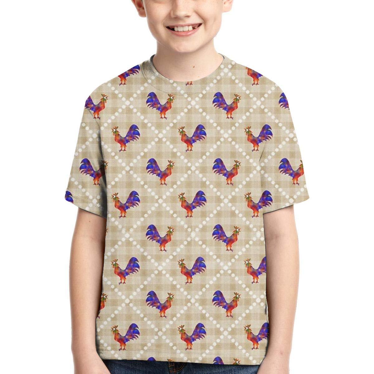 OPQH Boys Short Sleeve Rooster Lattice Pattern 3D Printed T-Shirts Summer Cool Youth Kids Tees