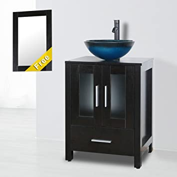 Goodyo 24 Inch Mirrored Bathroom Vanity Classic Mdf Cabinet With