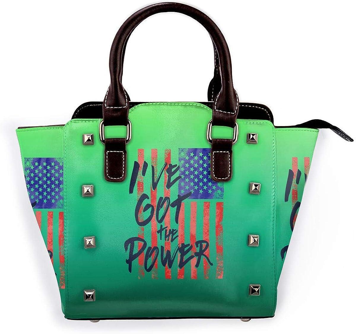 LalaQ Sunflower - Mini bolso de mano de piel auténtica con remaches para mujer Bandera de Estados Unidos Que Tengo El Poder