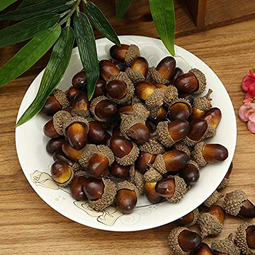BigOtters 100 PCS Artificial Acorn, Fake Nutty Craft Acorns with Natural Acorn Cap Simulation Fruit Props for Vase Filler, Home House Autumn Favor, Thanksgiving Day Christmas Wedding Decor