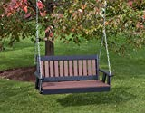 4FT-CEDAR-POLY LUMBER Mission Porch Swing Heavy Duty EVERLASTING PolyTuf HDPE – MADE IN USA – AMISH CRAFTED