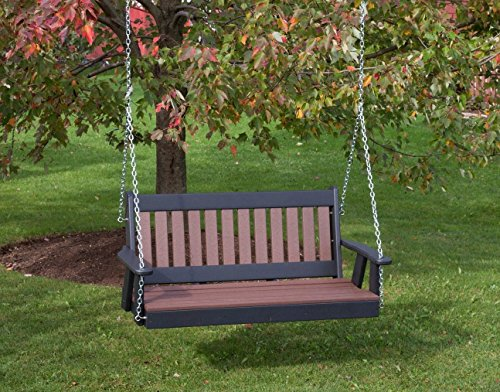 4FT-CEDAR-POLY LUMBER Mission Porch Swing Heavy Duty EVERLASTING PolyTuf HDPE – MADE IN USA – AMISH CRAFTED For Sale