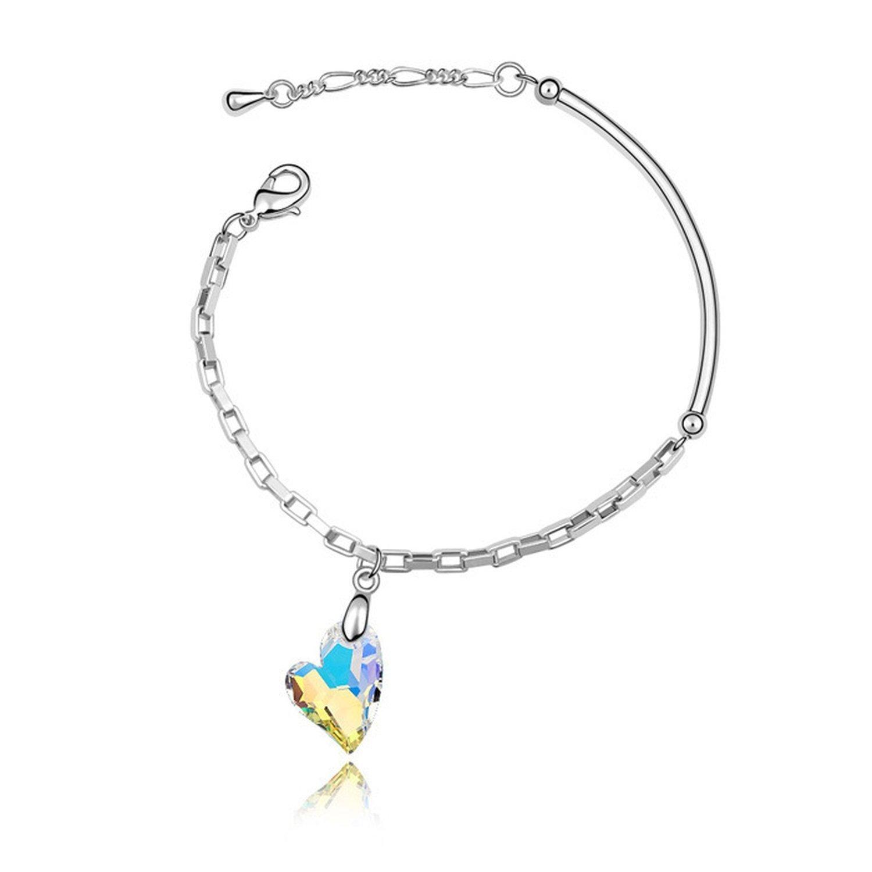 KEBINAI uses Swarovski Element Crystal Bracelet Love Corner high-end Jewelry,Colorwhite5498