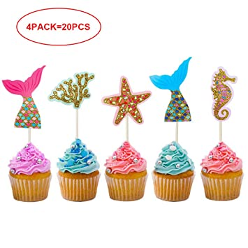 Mary Paxton 20Pack Mermaid Cake Cupcake TopperPaper Birthday Party Decorations Princess Baby Girl Children