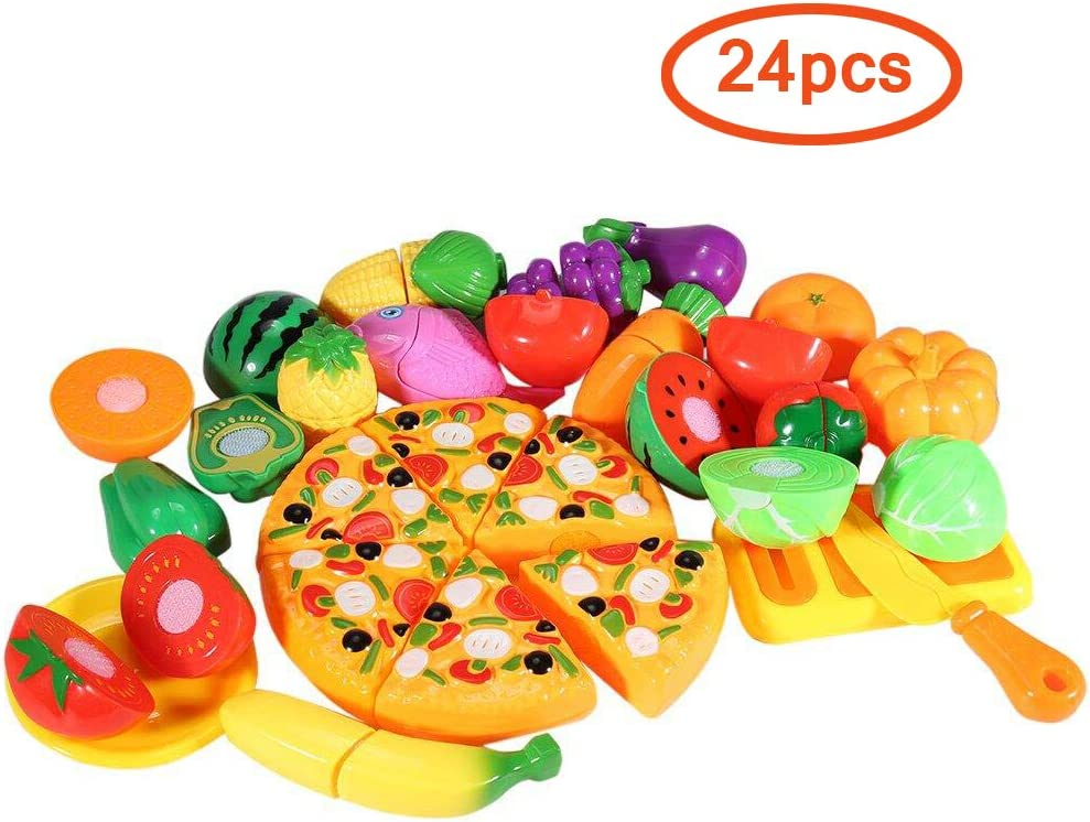 Funslane Pretend Play Food Set, 24 Pcs Cutting Food Play Set for Kids, Kitchen Food Toys Fun Cutting Pizza Fruits Vegetables