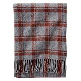Pendleton Wool Eco-Wise Washable Throw Blanket (Grey/Rust Plaid, One Size)