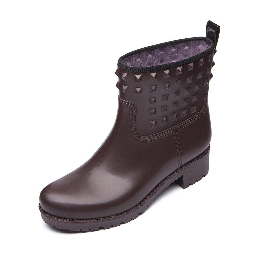 DKSUKO Women's Rain Boots with Fashion Rivet Short Ankle Waterproof Rubber Boots 3 Colors (8 B (M) US, Brown)