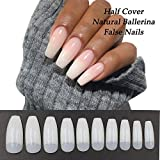 AORAEM Coffin Nails Tips Natural 500PCS Half Cover Acrylic False Ballerina Fake Nail Art Tip 10 Sizes for Salons and Home DIY Polish Manicure