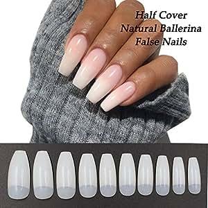 Amazon Coffin Nails 500pcs Half Cover Acrylic False Nail Tips
