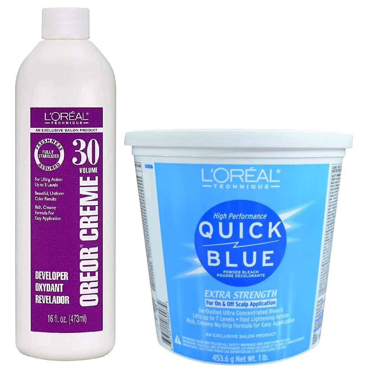 L'Oreal Technique Quick Blue Powder Bleach Extra Strength 1lb w/30 Volume Oreor Developer 16oz Bundle