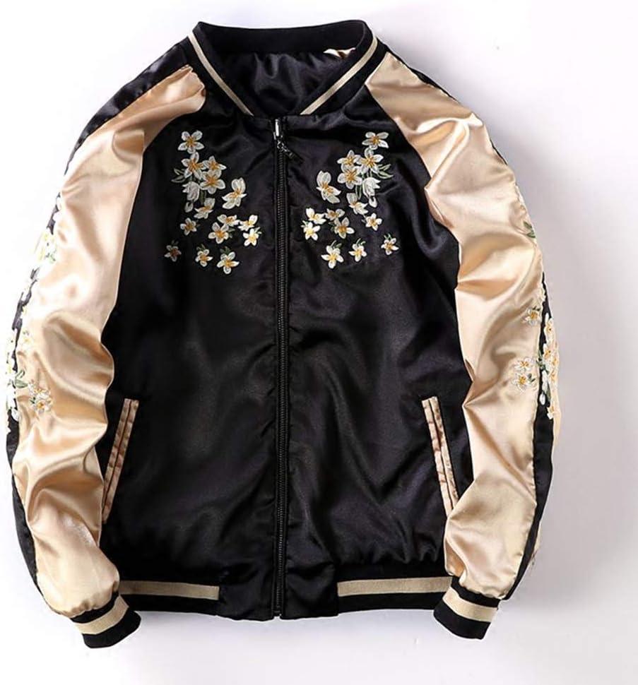 Hzikk Grue Broderie De Fleurs Bomber Jacket Femme en Vrac Manteau De Base Manteaux De Femme,Noir,M