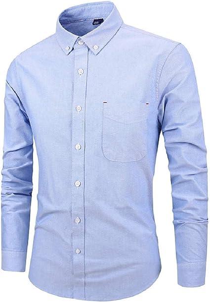 ChengZhong - Camisa de Manga Larga para Hombre, Informal, de algodón, con Botones, Color Azul Marino Oxford US 5XL: Amazon.es: Ropa y accesorios