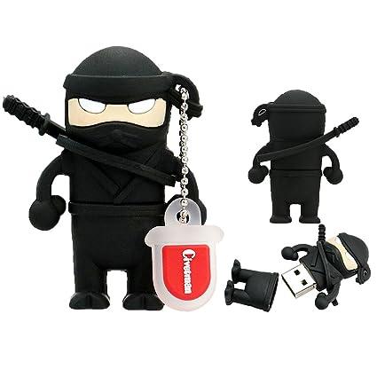 Flash Drive 32GB Memory Stick Pen Drive USB2.0 Cute Cartoon Miniature Ninja Shape Thumb Drives for Date Storage Gift for School Students Kids Children ...