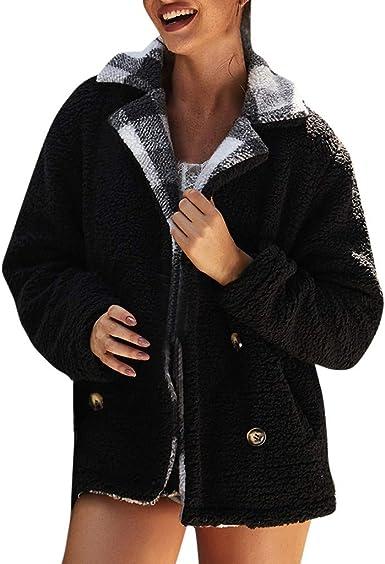 SNOWSONG Womens Faux Fur Shaggy Jacket Hoodie Winter Fleece Coat Outwear Fuzzy Button Up Outwear