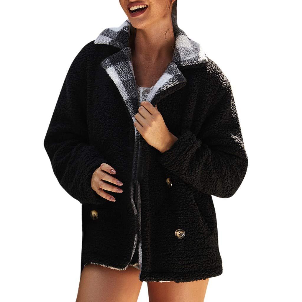 Cuekondy Women's Coat Winter Warm Long Sleeve Plaid Lapel Fleece Fuzzy Faux Shearling Shaggy Cardigan Jacket