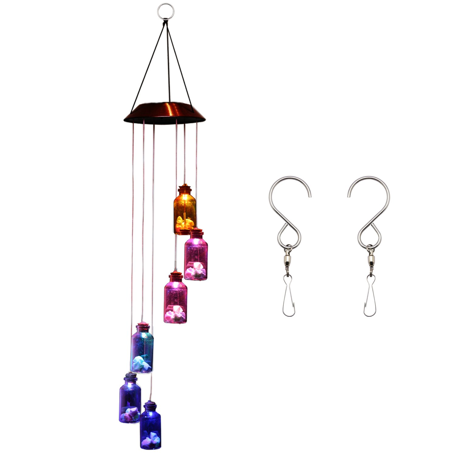 solar wind chime color changing light garden patio outdoor