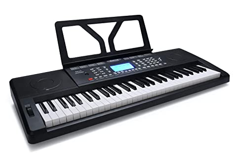 JUAREZ Opus JRK692 61-Key Electronic Keyboard Piano with LCD Digital Display, Pitch Bend, MP3 USB MIDI  Touch Response Adapter Key Note Stickers Music Sheet Stand 210 Rhythms   422 Timbres   120 Demos