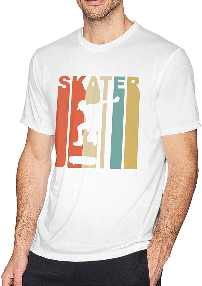 Camiseta de Manga Corta con Cuello Redondo para Hombre de Skate Skateboarding Retro de los años 70, Camiseta Informal para Hombres,S: Amazon.es: Ropa y accesorios