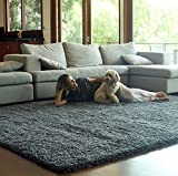 Gertmenian True Shags Platinum Label Gray Shag Rug 5×7 – Soft Olefin Yarn 2 Inch in Luxury Charcoal Solid Color Area Rugs