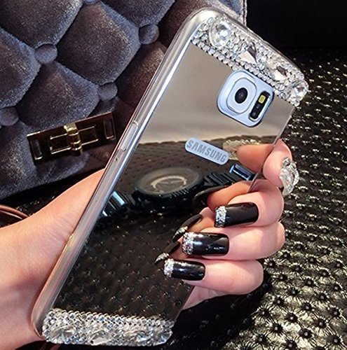 Galaxy S8 Plus Case,Inspirationc Beauty Luxury Diamond Hybrid Glitter Bling Soft Shiny Sparkling with Glass Mirror Back Plate Cover Case for Samsung Galaxy S8 Plus--Silver Diamond