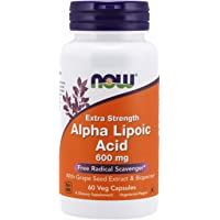NOW Supplements, Alpha Lipoic Acid 600 mg with Grape Seed Extract & Bioperine®, Extra Strength, 60 Veg Capsules