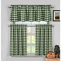 Duck River Textiles KCKSG=12 3153 3 Piece Kingston Checks Kitchen Curtain, Sage