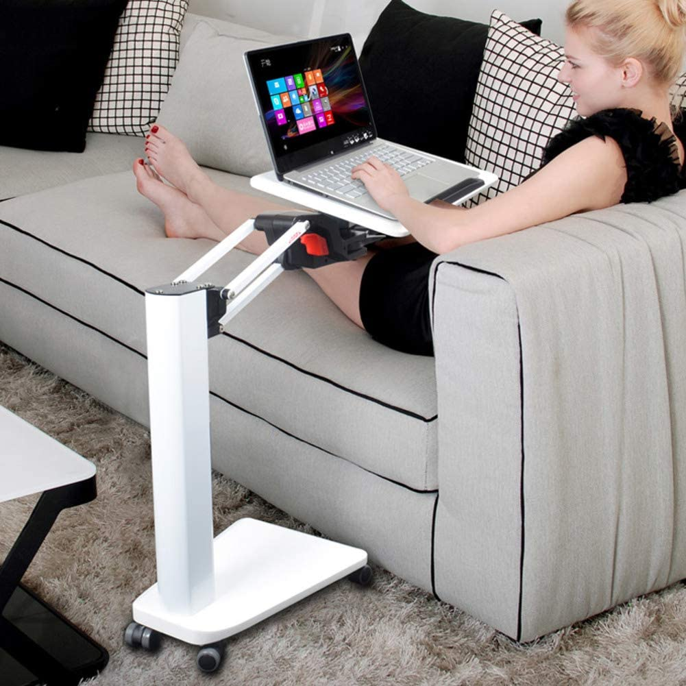 Multifunctional Mobile Laptop Table,overbed Table Adjustable Laptop Stand for Bed & Sofa,Rotating Bed Computer Desk Notebook Desk-White
