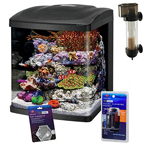 Coralife NEW STYLE Size 16 LED BioCube Aquarium with Protein Skimmer and FREE Hydrometer and Cleaning Magnet by Coralife