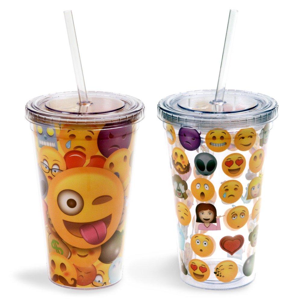Emoji Universe: Emoji Tumblers, 16 oz (2-Pack) With Lids and Straws
