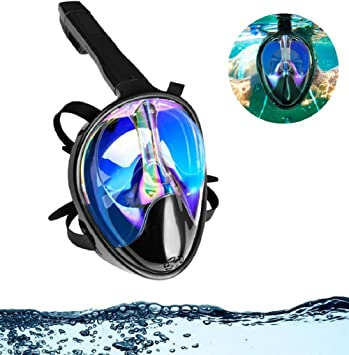 NPLUX UV Full Face Snorkel Mask with Panoramic View Anti Fog Easybreath Diving Mask for Adults and Youth