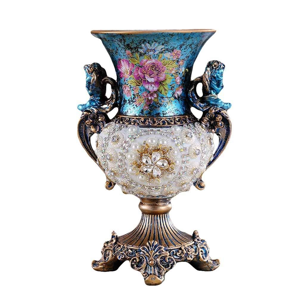 花の高い足の瓶のための自然な樹脂のダイヤモンドの花瓶、居間の寝室のテーブルの床の花瓶のためのまたはギフトの白および青29cmとしてヨーロッパの贅沢な家の付属品 B07SHPSD6J